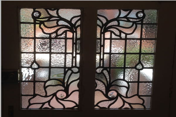 Organic stained glass design for a house in hampstead