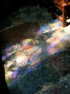 Good modern stained glass can transform the light around you. Light cast on the stone floor by a Deko Studio designed Stained Glass