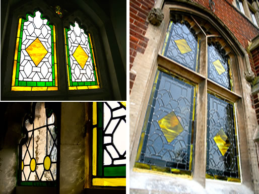 stained glass windows for an entyrance for a Victorian tower in Cromer Norfolk, Deko Studio London Traditional design stained Glass enhancing traditional architecture